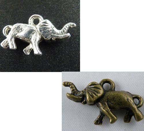 100pcs Argent//Bronze Color 3D Elephant Charms Bijoux À faire soi-même 24x14x6mm 9422