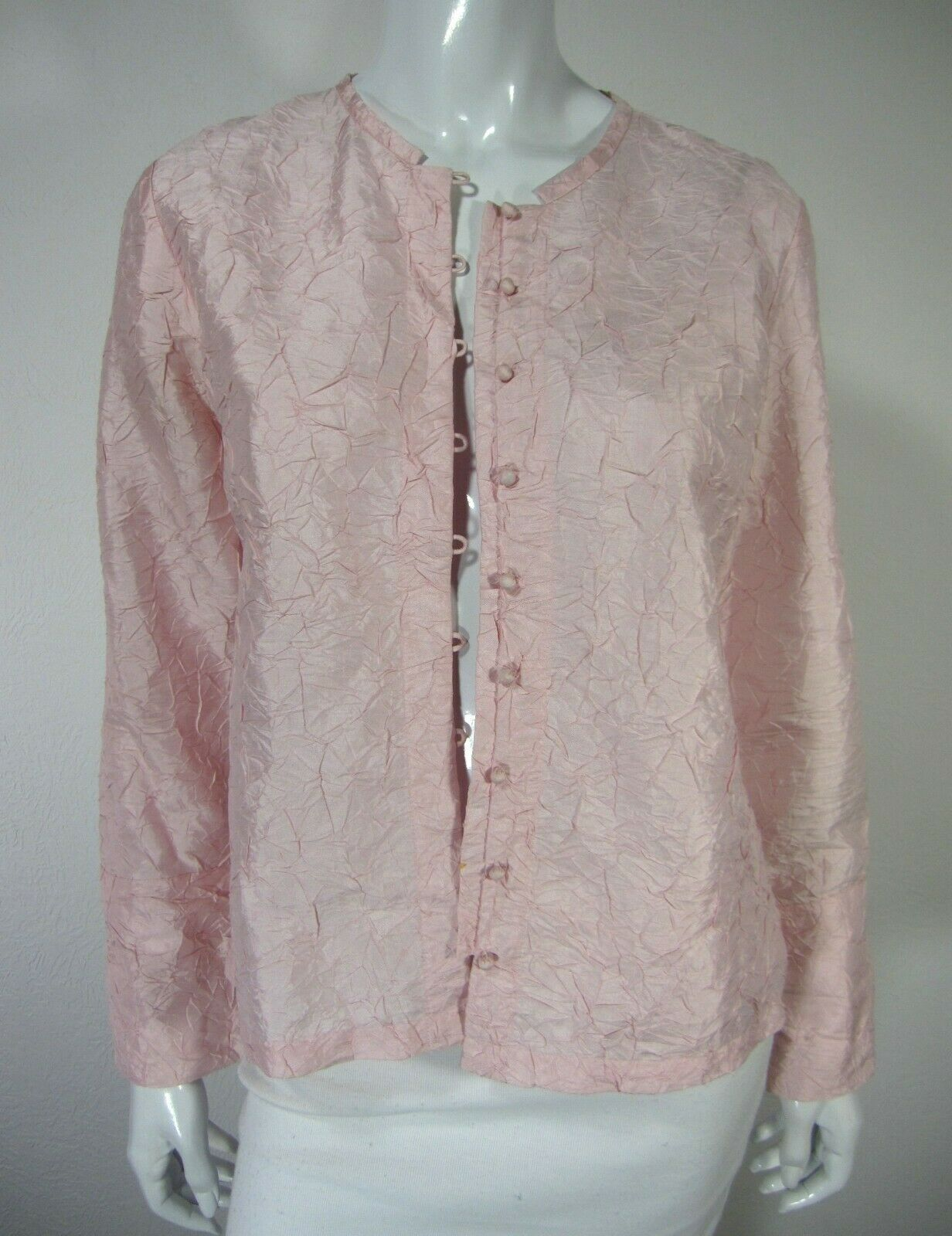 Eileen Fisher Long Sleeve Blouse Größe PS Petite Small Wrinkled Solid Rosa Silk