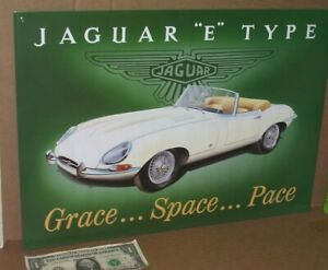 "JAGUAR E JAG ==== BEAUTIFUL ==== BIG OLD SIGN -- Dated on Back 1994 - ""Type E"" -"