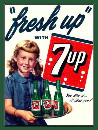 Novelty Gift Fresh Up with 7UP Man Cave Bar Pub Retro Metal Plaque//Sign