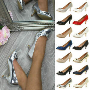 Womens-ladies-low-mid-heel-diamante-party-smart-evening-court-shoes-size