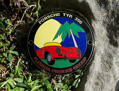 VINTAGE ENAMEL AUTOMOBILE CAR CLUB BADGE # PORSCHE 356 CLUB FLORIDA OWNERS GROUP