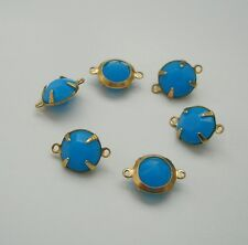 6-Sky Blue Acrylic Rhinestone  Brass Prong Setting   Connector Open Back 2 Rings