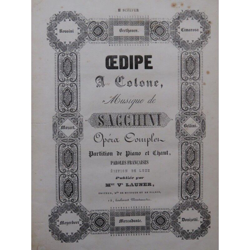 SACCHINI Opéra Antonio Oedipe à Colone Opéra SACCHINI Chant Piano ca1855 partition sheet music b687cc