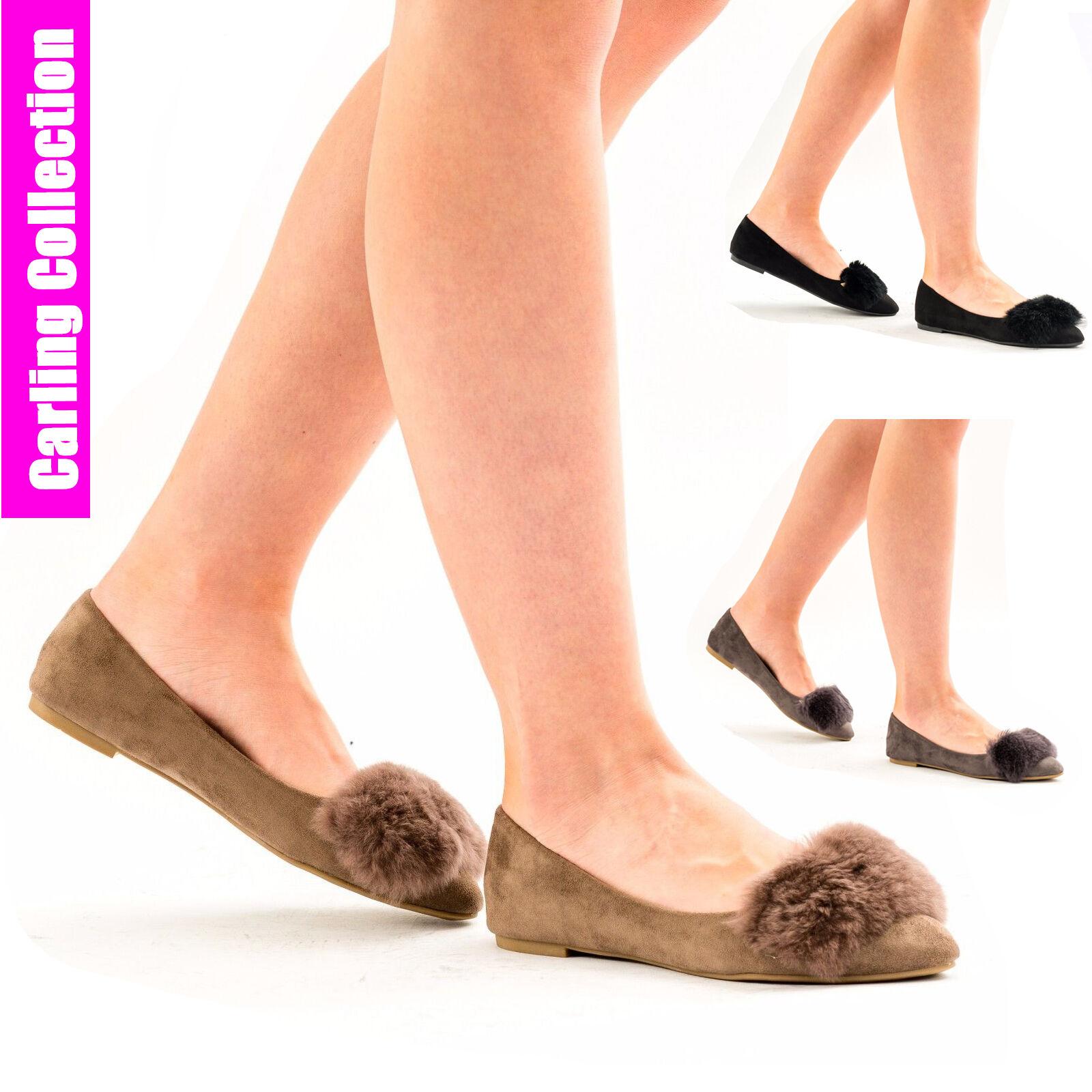 Mujer Ladies Flat On Furry Trainers Pumps Ballerina Plimsolls Slip On Flat zapato Talla 40781e