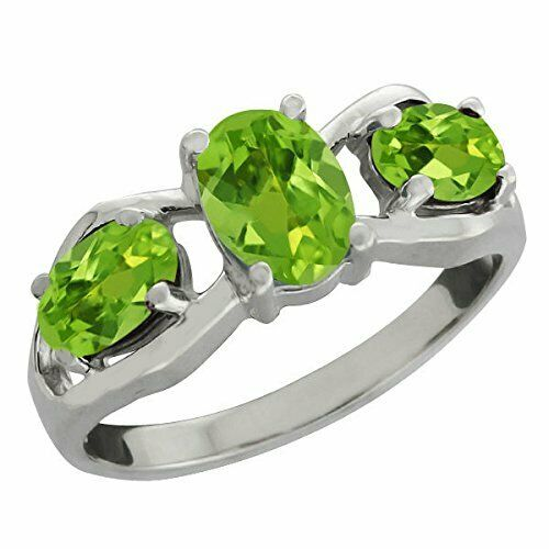 2 Ct Peridot Oval Ring .925 Sterling Silver