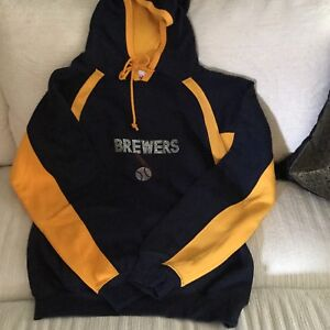 official photos dec56 ae339 Details about Milwaukee Brewers Hooded Sweatshirt Women's Small W/Bling