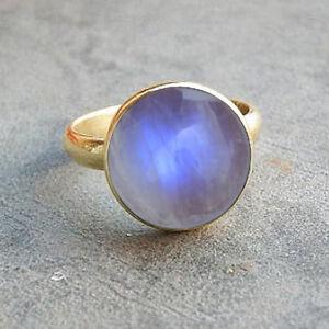 Blue-Fire-Rainbow-Moonstone-Gemstone-14K-Yellow-Gold-Wedding-Gift-Ring-Size-7