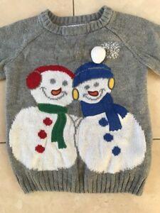 Boys-Girls-Children-Snowman-Grey-jumper-ages-2-3