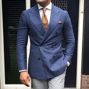957a38c871 Mens Blue Jacket Gray Pants Double Breasted Tuxedo Suit Slim Wedding ...