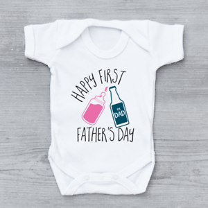 d72c433b8 Happy 1st First Father's Day Bottle & Beer Cheers Girls Baby Grow ...