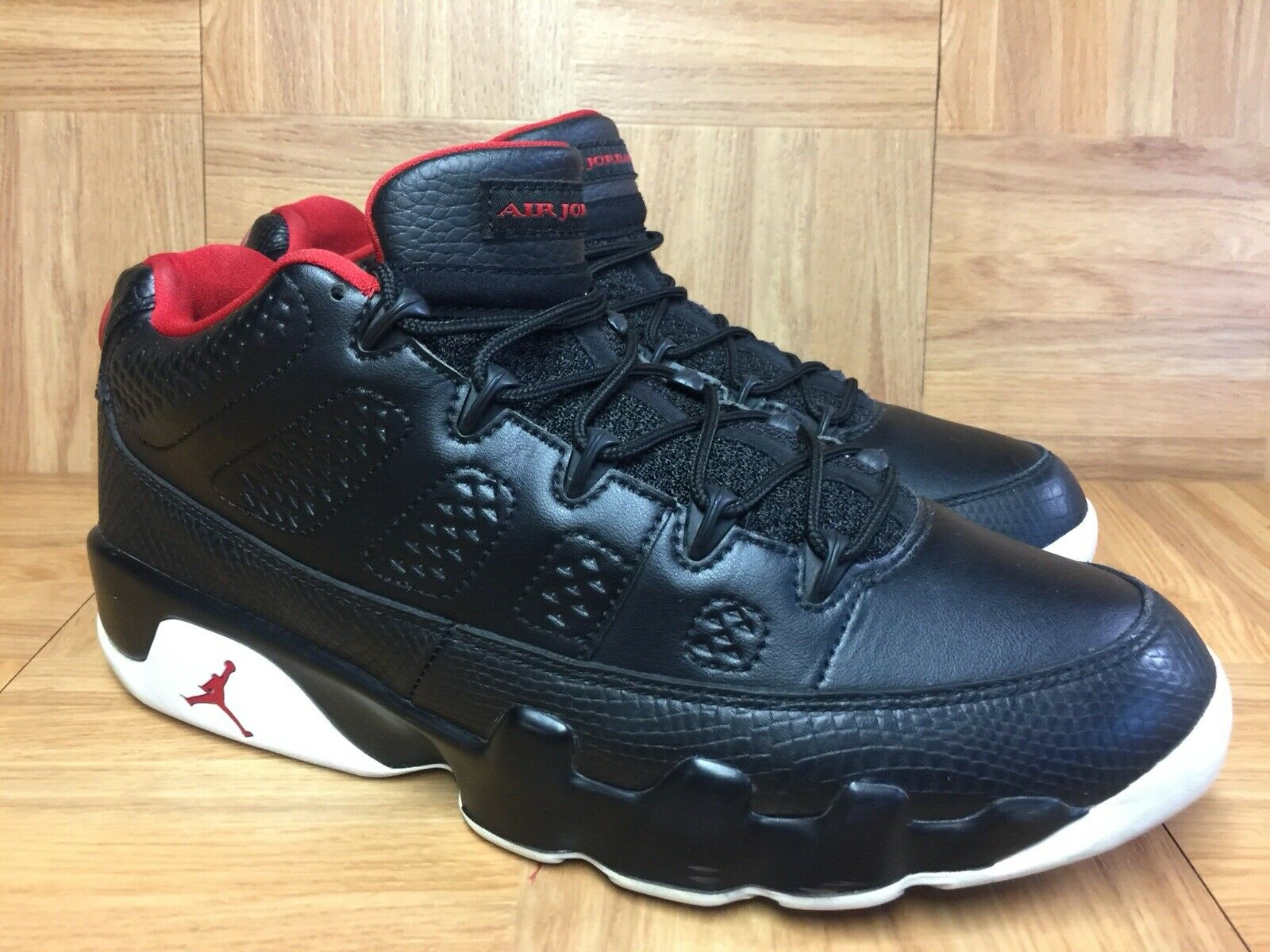 6a7a87ac82a RARE Nike Air Jordan 9 IX LOW Black Leather Leather Leather Gym Red Bred SZ  10.5 832822-001 7e9c6a