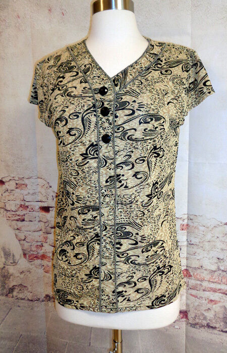 Black and Gold Blouse Easy Fit Size Choice L or XL