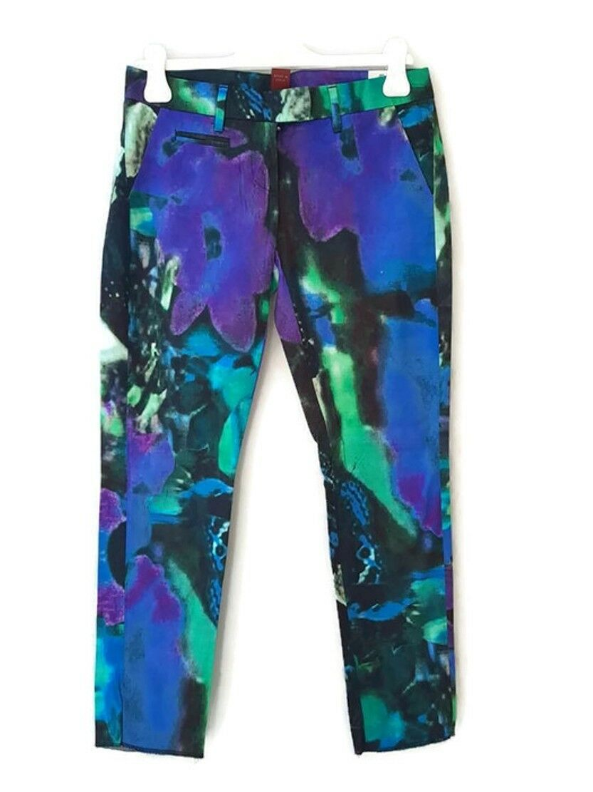 Dondup abstract prints colorful straight leg cotton ankle pants trousers  S