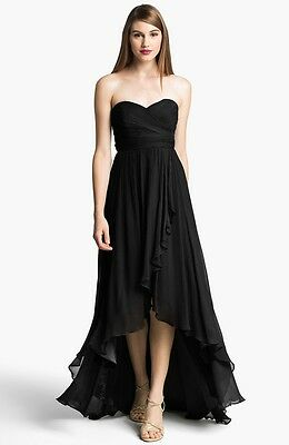 Jenny Yoo 'Shiloh' Strapless High/Low Silk Chiffon Gown Dress Black Size 4