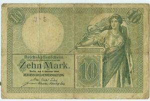 Deutsches-Reich-Geld-Banknote-Geldschein-10-Mark-1906-Ro-27b