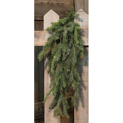 Primitive Country Faux Prickly Pine 6 Ft Winter Christmas Garland