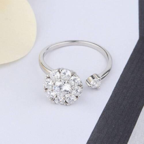 Silver Anillo Giratorio Lustres Claro Cristal Ajustable Anillo de compromiso para mujeres