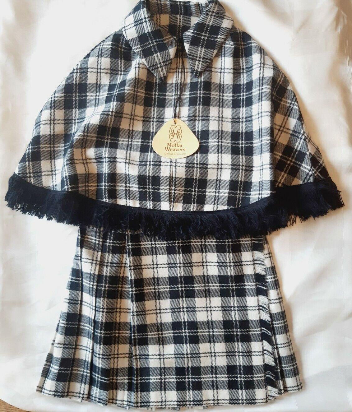 Girls MOFFAT WEAVERS,SCOTLAND kilt/ cape Set Net! Black White Wool