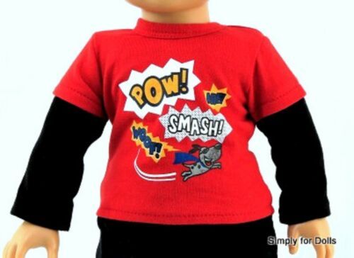 """RED /& BLACK LS Super Pup /""""BOYS/"""" DOLL T-SHIRT fit 18/"""" AMERICAN GIRL Doll Clothes"""