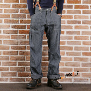4397a0f2fc67 Image is loading Mens-Jeans-Vintage-Overalls-Loose-Straight-Pants-Work-
