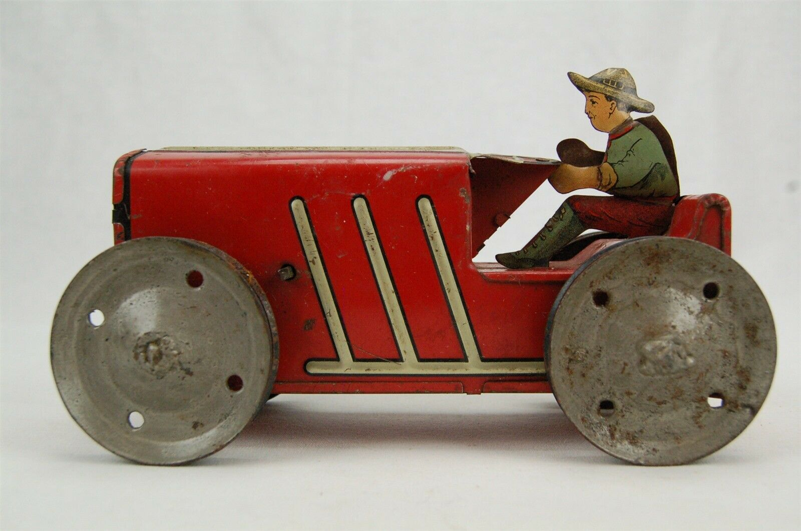 Marx Wind Up Tractor with driver Red Vintage