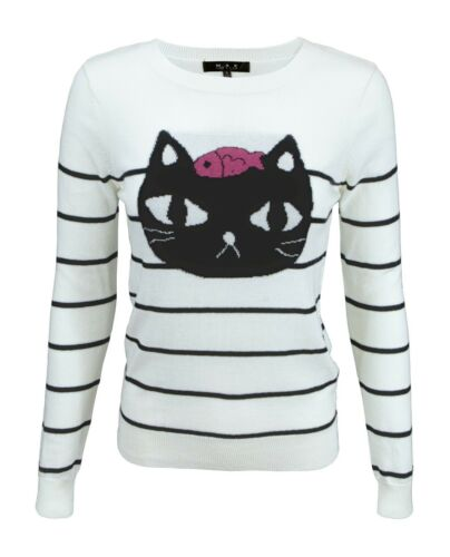 YEMAK Women/'s Striped Pattern Black Cat Crewneck Casual Jacquard Sweater MK8097