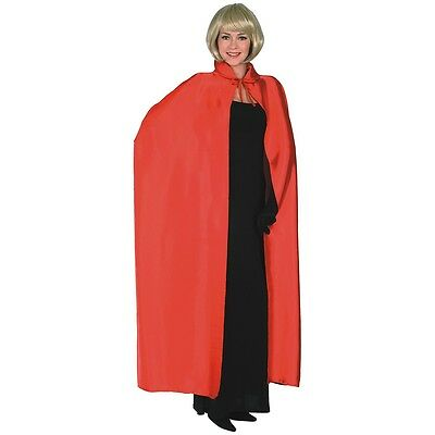 "Long Red Satin Cape Costume Accessory Adult 60"" Cloak Halloween Fancy Dress"