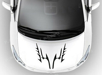"Car Front Hood Body Graphic Vinyl Sticker Decal 17"" Blade Eyebrow Racing Black 2"