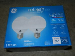 Details about new 2-pack GE refresh 5 5w = 60w Daylight HD LED G25 globe  Bulb dimmable day 60