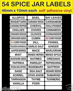 Blanc 54 bocal à épices étiquettes adhésif vinyle herb & spice jar stickers autocollant de stockage  </span>