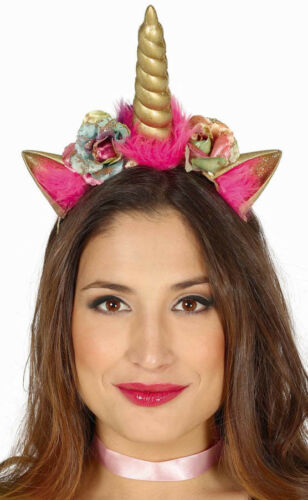Deluxe Adult Unicorn Horn /& Roses Fancy Dress Headband Ears Cosplay Fantasy LARP