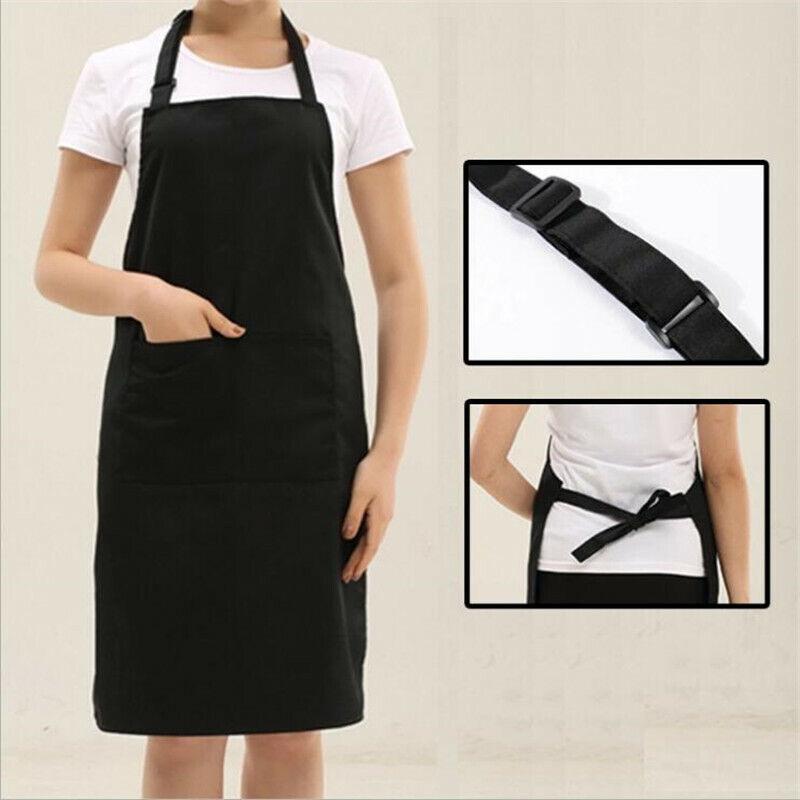 Black Syntus 4 Pack 100/% Cotton Adjustable Bib Apron 2 Pockets Cooking Kitchen Aprons for Women Men Chef