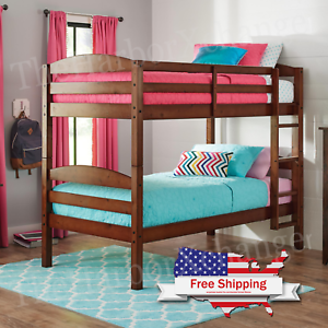 Twin Over Twin Bunk Bed Separable Wooden Home Bedroom Teens Child Cherry Ebay