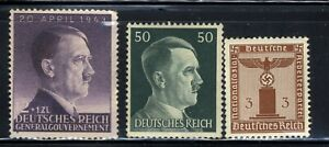 1940-45 Germany Nazi 3-STAMP Third Reich Hitler Swastika Deutsch WWII MNH OG