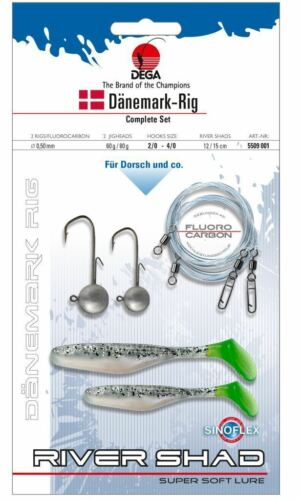 Dega Denmark Rig-Tippet branndung Cod Silver Complete Shad Sea JIG-HEAD