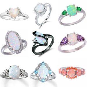 White-Fire-Opal-925-Silver-Gemstone-Women-Wedding-Jewelry-Ring-Size-5-6-7-8-9-10