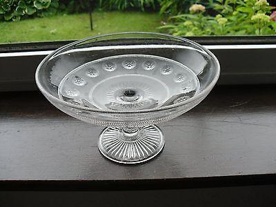 Art Deco Clear Glass Pedestal Fruit Bowl Nice Vintage Davidson Blackberry Prunt