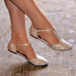 Details about Ladies Flat Ballerina Christmas Party Shoes Closed Toe Tbar Ankle Strap Sandals
