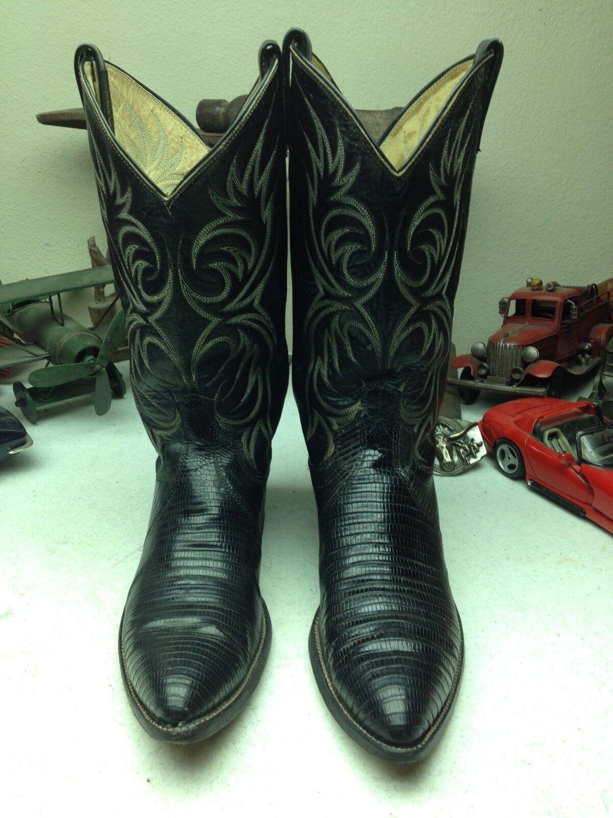 DAN envejecida Hecho en EE. UU. occidental POST Vintage de Cuero Negro botas De Lagarto 10 B