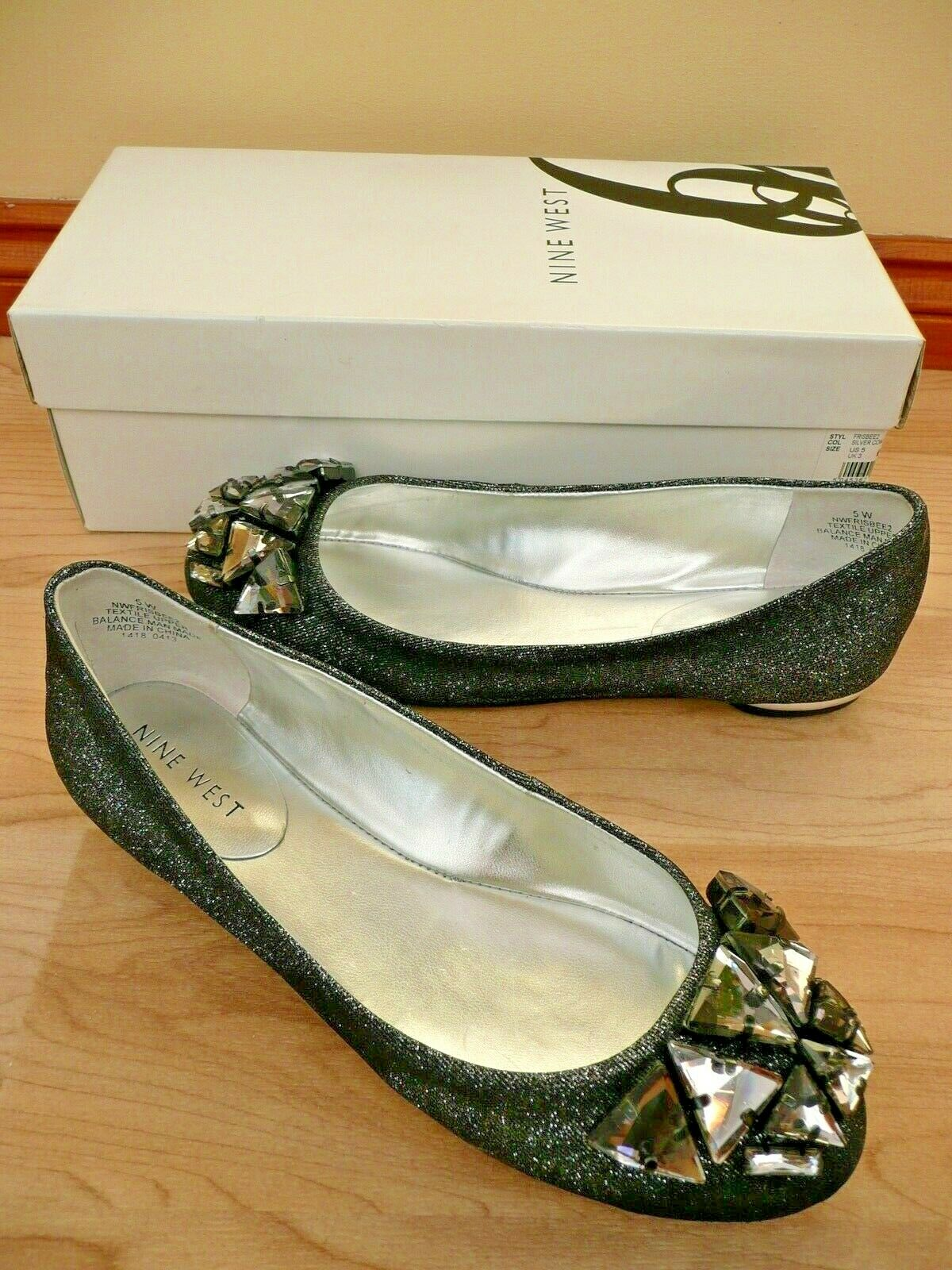 WORN ONCE Nine West SIZE UK 3 Silver Glitter Courts PUMPS Flats JEWELLED 36 5 5W