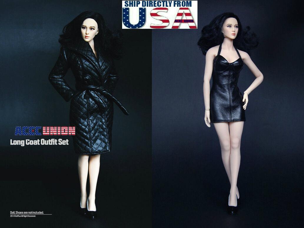 1 6 Leather Coat Dress Dress Dress Set For 12  PHICEN Hot Toys TBLeague Female Figure U.S.A. 13edc1