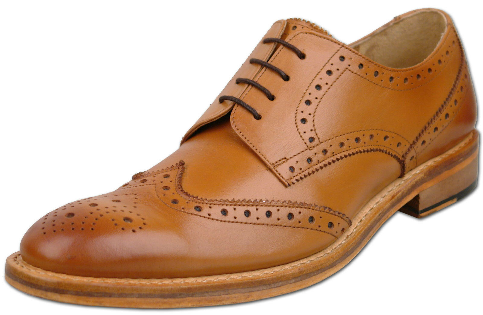 Mens New Tan Full Leather Lace Up Formal Brogues Shoes Size 6 7 8 9 10 11 12