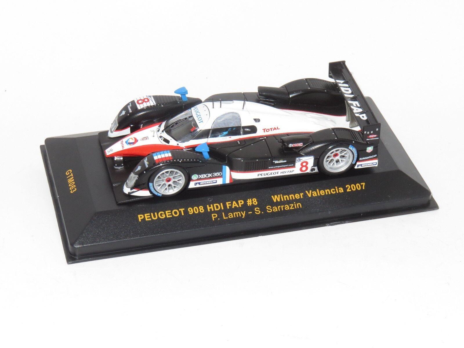 1 43 Peugeot Peugeot Peugeot 908 HDi FAP Valencia ganador 2007 Lamy judía b1fe49