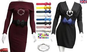 Ladies-Women-Fashion-Bowknot-Bow-Stretch-Elastic-Waist-Belt-UK-Seller-Fast-Ship