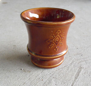 Vintage-1950s-McCoy-USA-Pottery-Brown-Diamond-Design-Planter-Vase-4-1-2-034-Tall