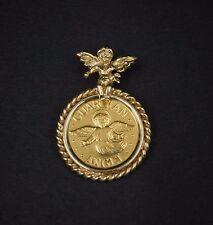 1/10 Oz Gold 0.999 Bullion Coin Guardian Angel 14K Yellow Gold Pendant 3D PG466