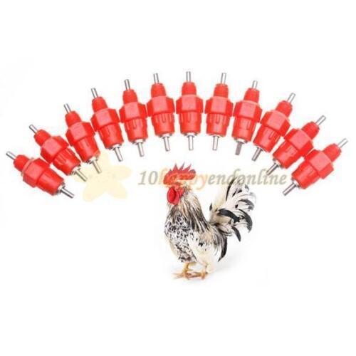 50Pcs Chicken Nipple Drinkers Waterer Poultry Feeder Hen 360° degree Screw In