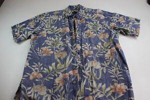 Cooke-Street-Honolulu-Blue-Floral-Hawaiian-CAMP-SHIRT-Large-L