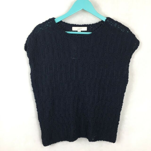 Ann Taylor Loft Sweater Womens Navy Blue Chunky Bubble Knit Size Xs